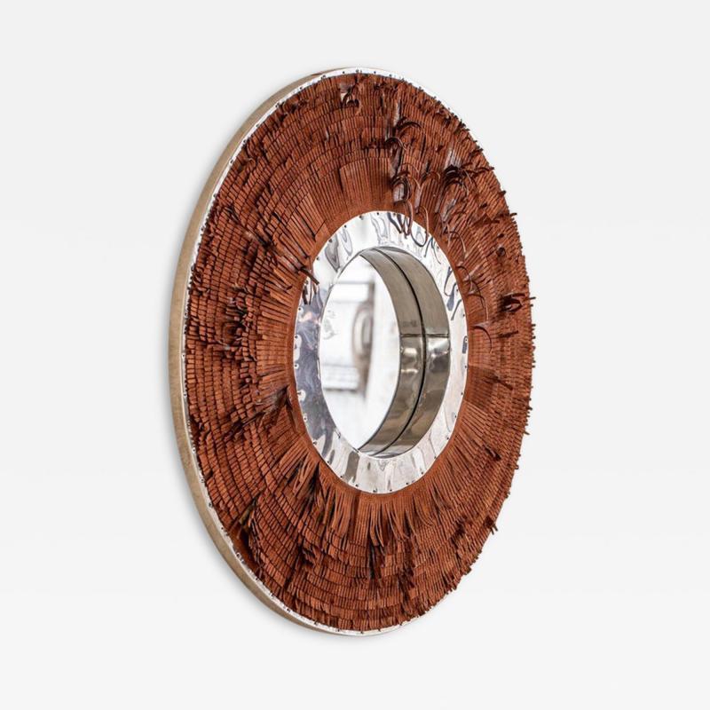 Brown Leather Fringe Mirror