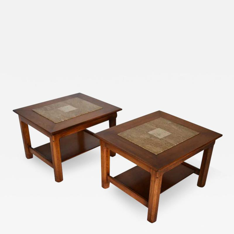 Brown Saltman Matched Pair of Stone Inlayed End Tables from Brown Saltman