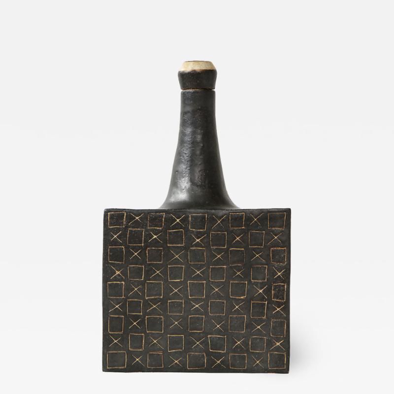 Bruno Gambone Black square ceramic vessel by Bruno Gambone