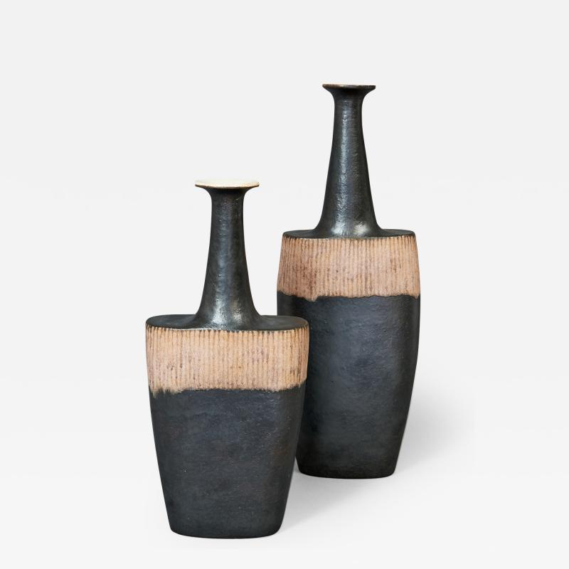 Bruno Gambone Pair of Long Neck Vessels
