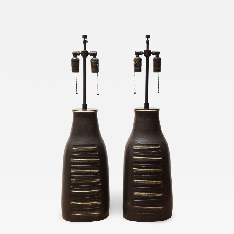 Bruno Gambone Pair of Monumental Lamps