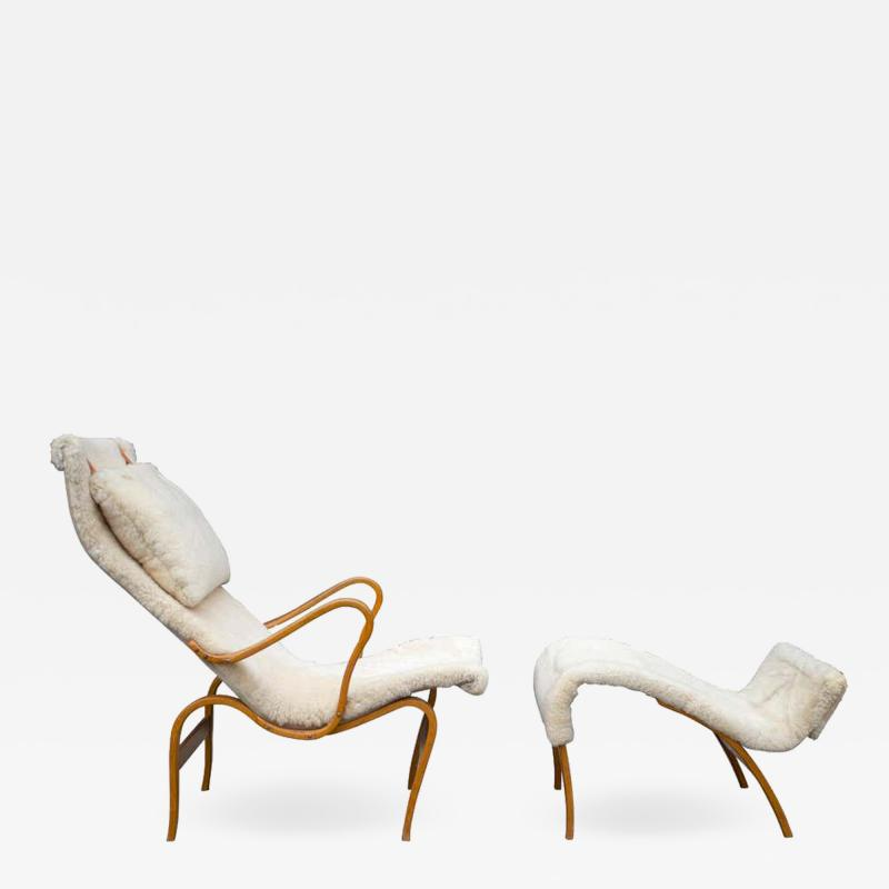 Bruno Mathsson Early Production Bruno Mathsson Pernilla Lounge Chair and Ottoman in Sheepskin