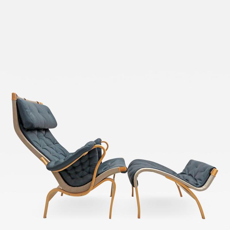 Bruno Mathsson Pernilla Lounge Chair with Ottoman by Bruno Mathsson for DUX