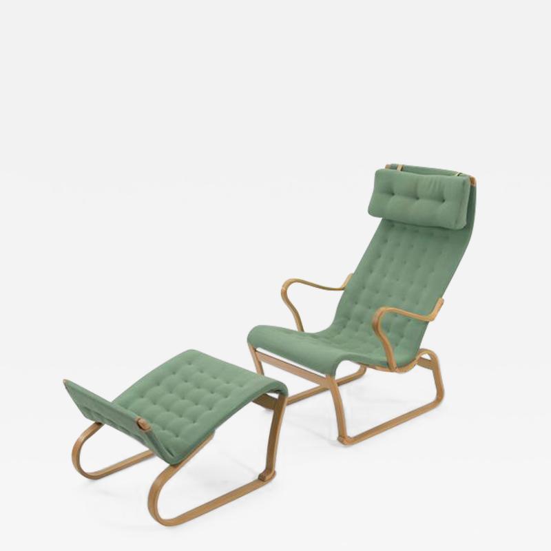 Bruno Mathsson Rare Model Bruno Mathsson Migo Chair and Ottoman