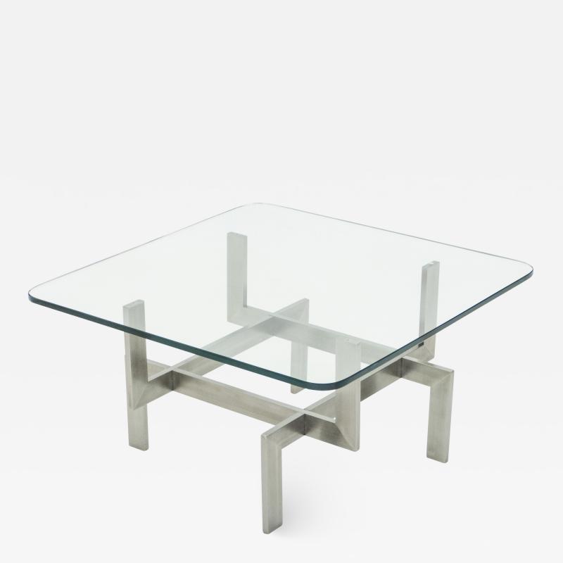 Brushed steel Paul Legeard square coffee table 1970s