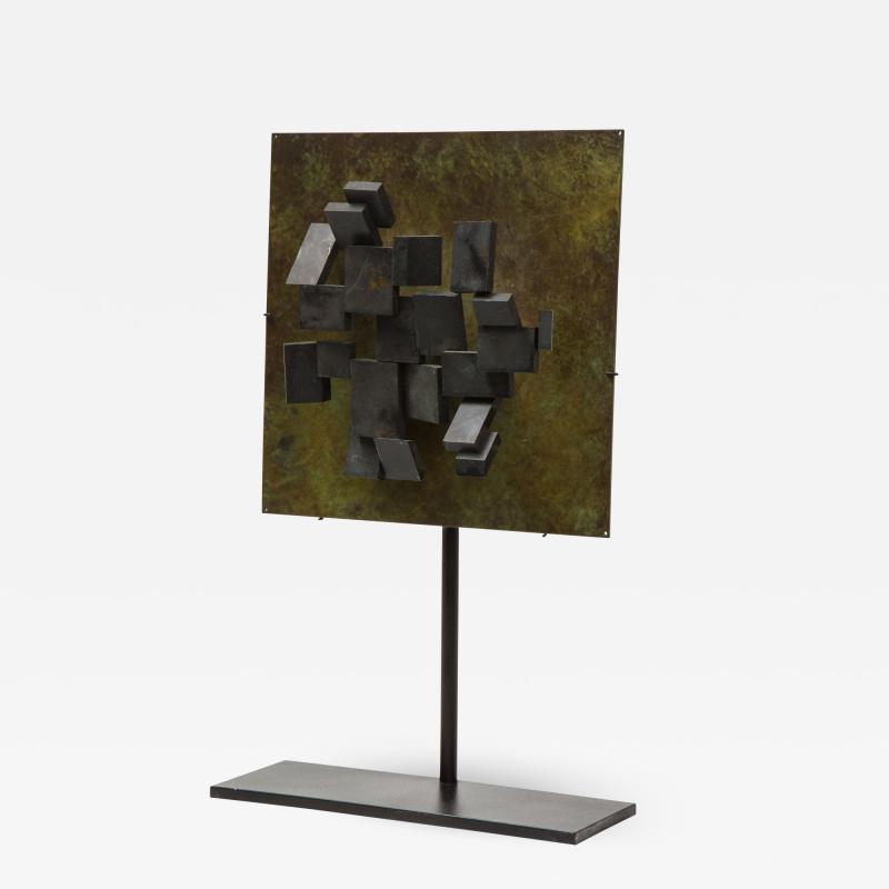 Brutalist Bronze Piece on Stand 20th Century