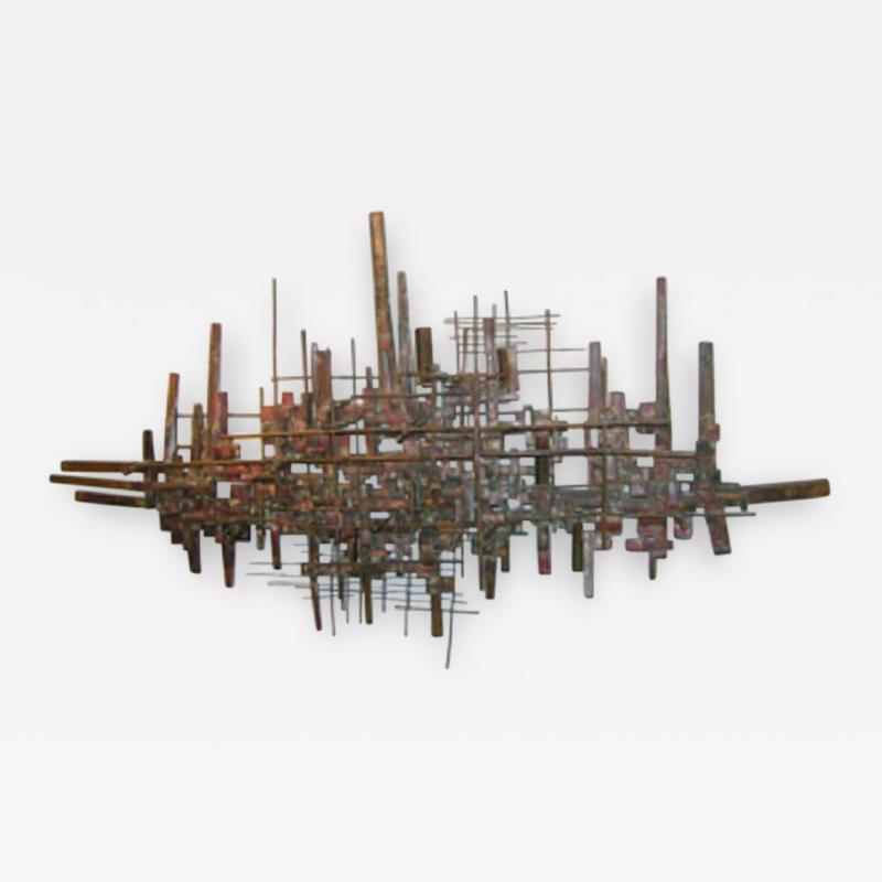 Brutalist Deconstructivist Wall Sculpture patinated brass signed Dan Ben Shmuel