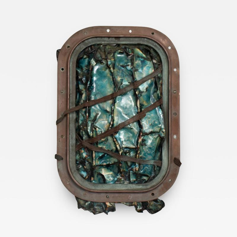 Brutalist Modern Abstract Enamel Sculpture Aqua on Copper by JoAnn Tanzer Calif