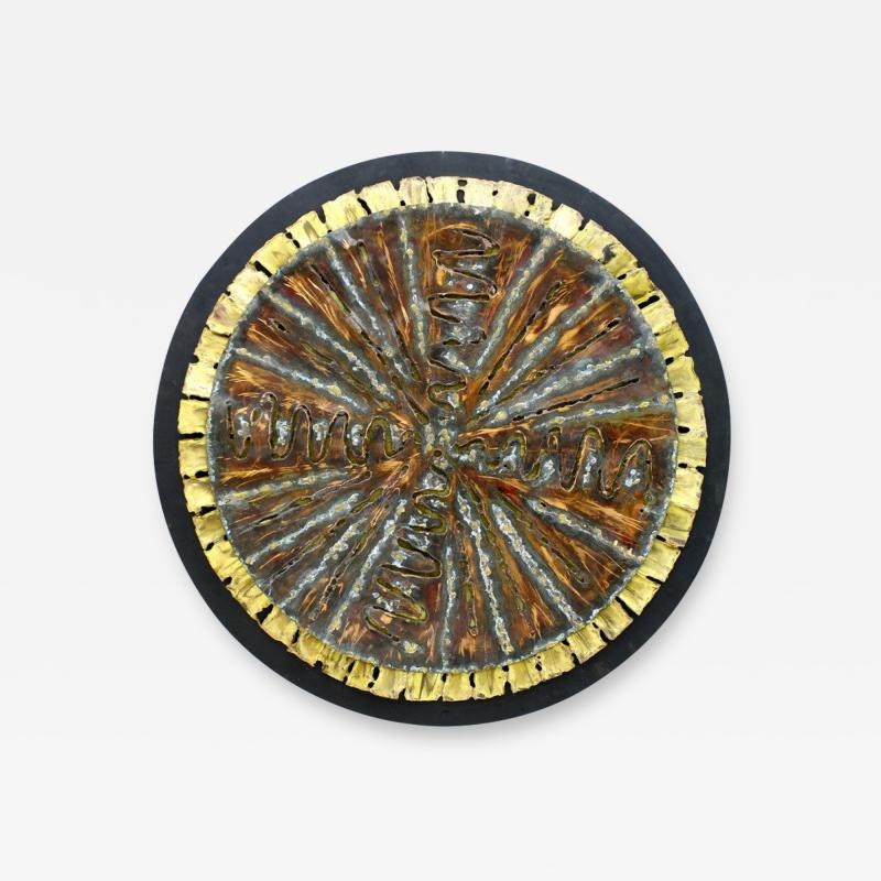 Brutalist Wall Mounted Decoration Metal Sculpture circa 1950s