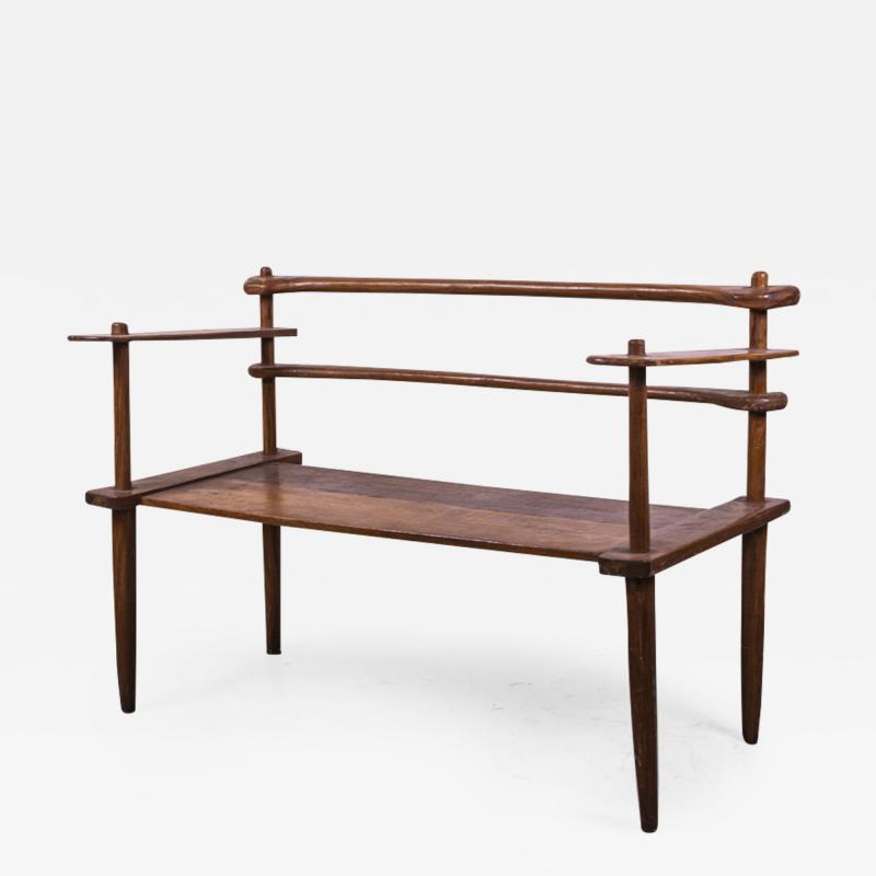 Brutalist rarest mahogany 2 seat settee bench