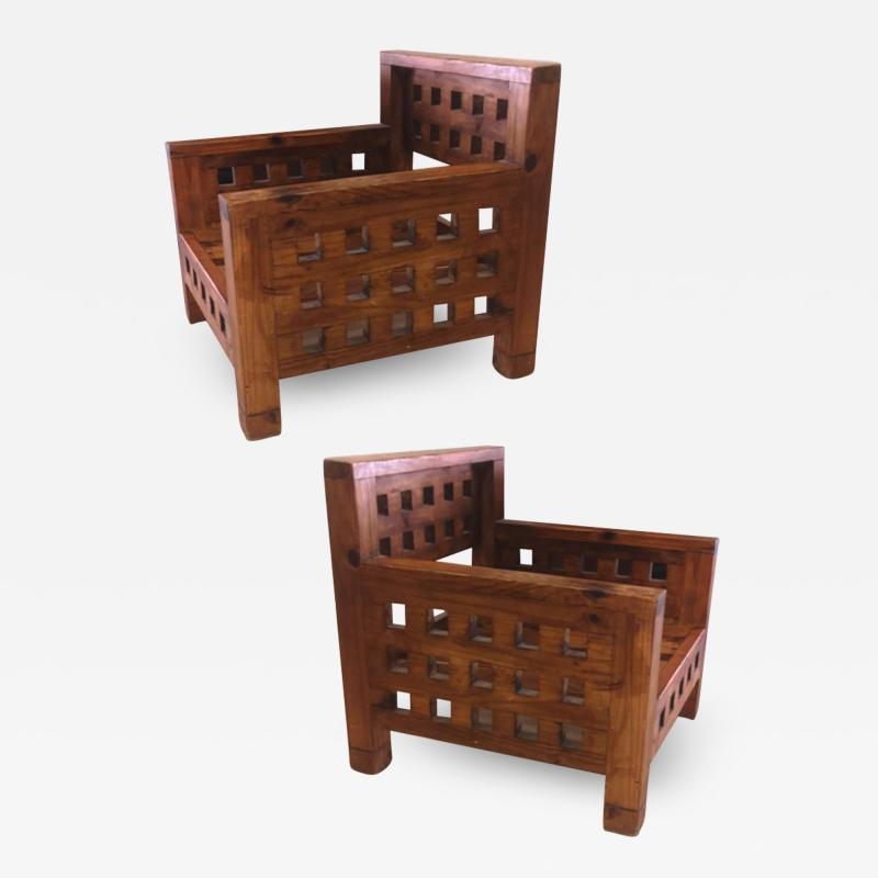 Brutalist superb design rarest pair of solid chestnut tree chairs