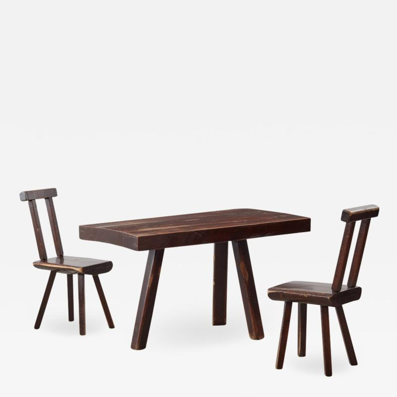 Brutalist table and chairs set Mobichalet Belgium c1950s