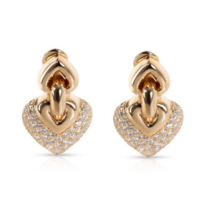 Bulgari Doppio Cuore Diamond Earrings in 18K Yellow Gold 3 CTW