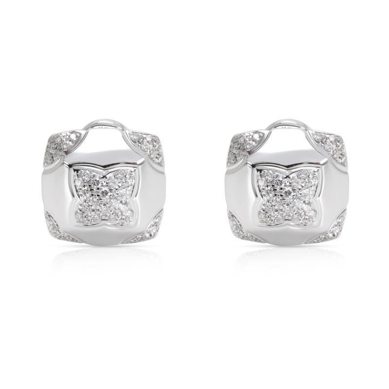 Bulgari Piramide Diamond Earrings in 18K White Gold 0 58 CTW