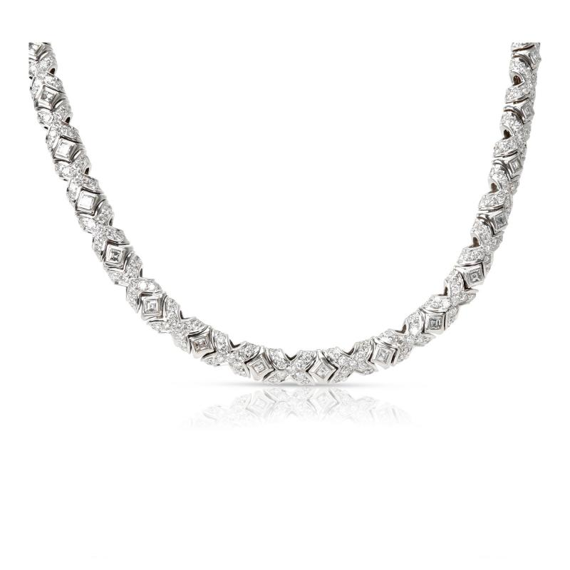 Bulgari Tubini Diamond Necklace in 18KT White Gold 10 1 CTW
