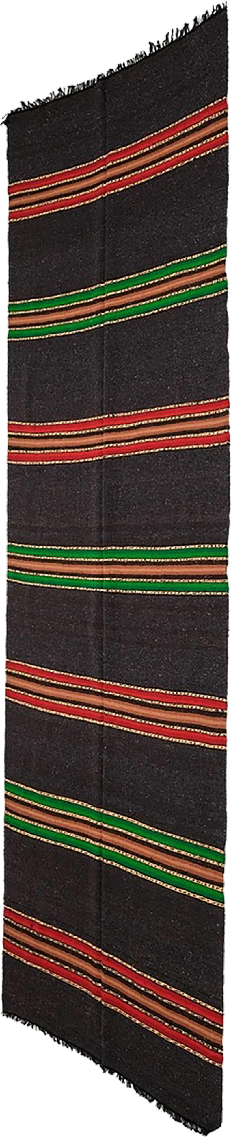 Bulgarian Tcerga runner hand woven red green black 60s