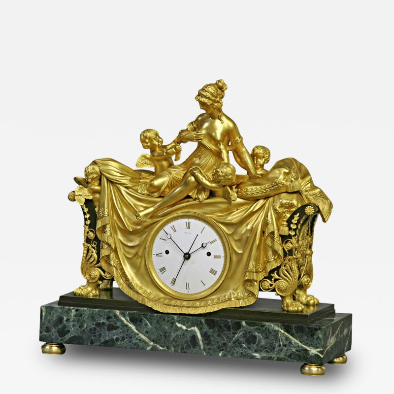 C 1812 Rare English Patinated Ormolu and Marble Mantle Clock