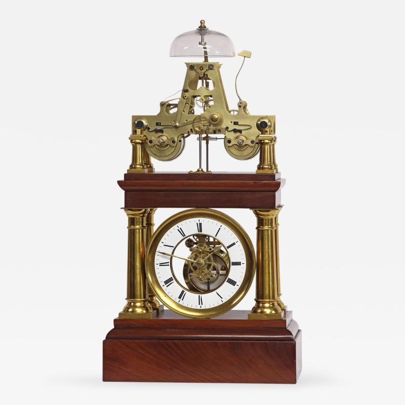 C 1880 Rare French Portico Clock with Turret Form Movement