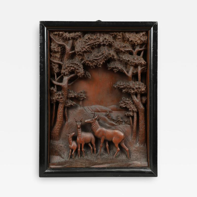 CARVED DIORAMA OF DEER