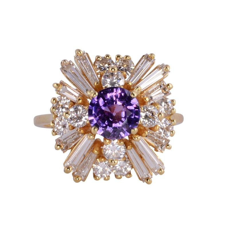 CGL Certified Natural Violet Sapphire Ring Size 8 5