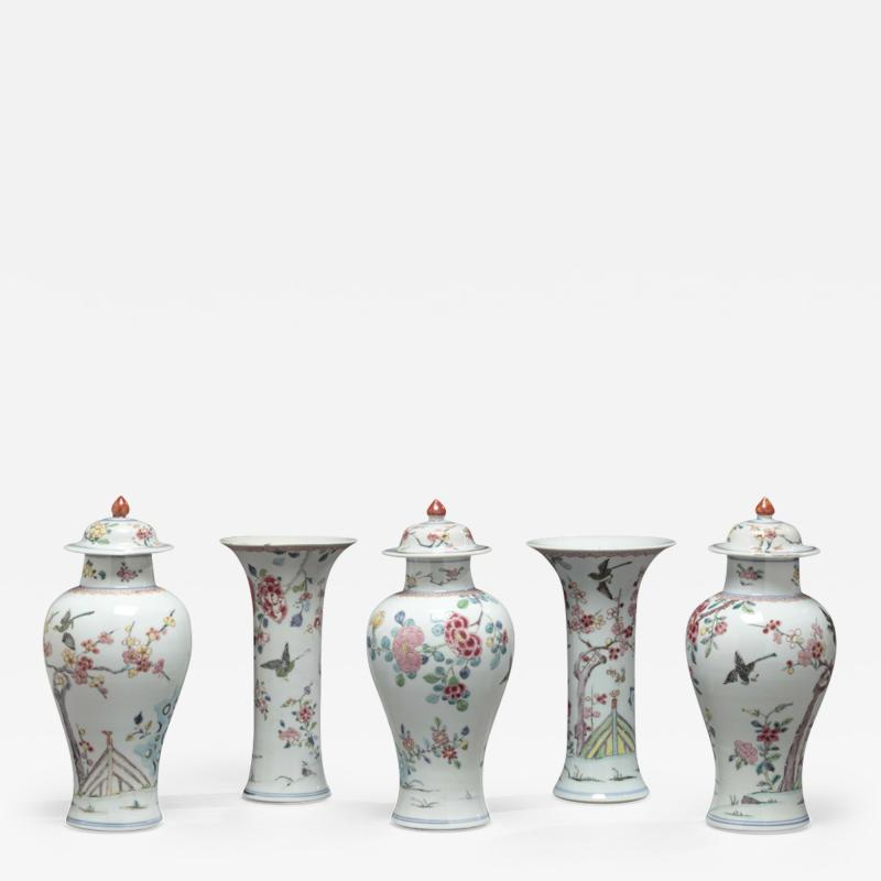 CHINESE EXPORT FAMILLE ROSE FIVE PIECE GARNITURE