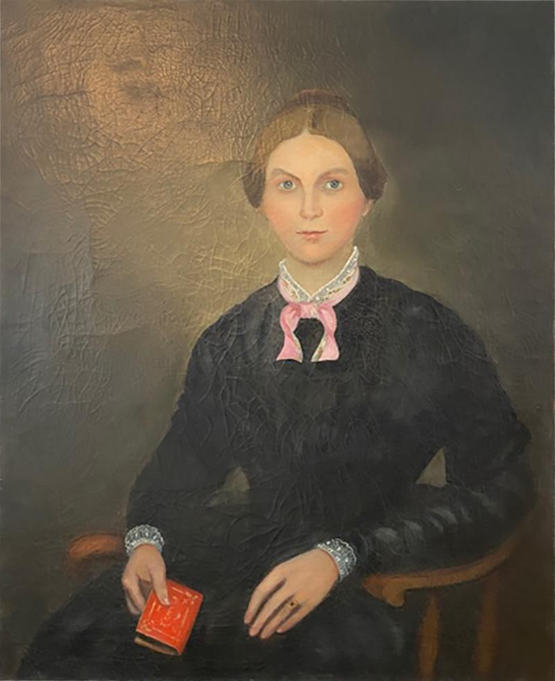CIVIL WAR WOMAN WITH BIBLE PAINTING