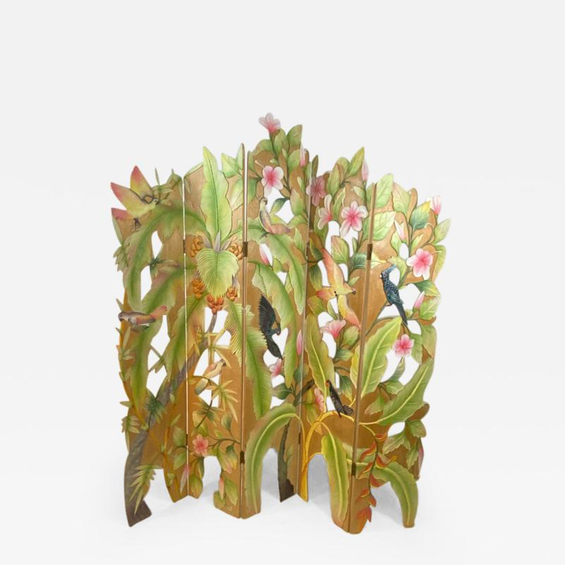 COLORFUL TROPICAL BIRDS AMONGST EXOTIC FOILAGE PAINTED CARVED WOOD ROOM SCREEN