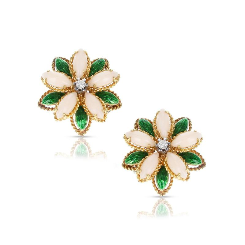 CORAL GREEN ENAMEL AND DIAMOND FLORAL EARRINGS 18 KARAT YELLOW GOLD