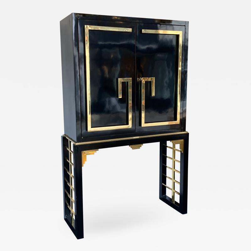 Cabinet Bar Lacquered with Brass and Mirror Italy 1970s