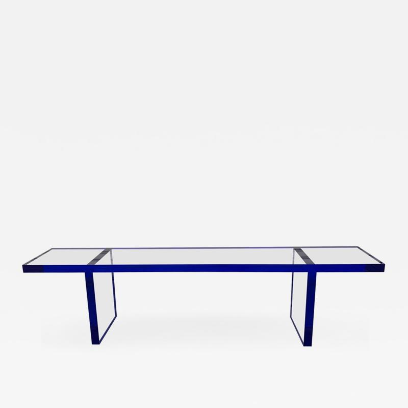 Cain Modern Custom Bench in Deep Blue and Clear Lucite by Cain Modern