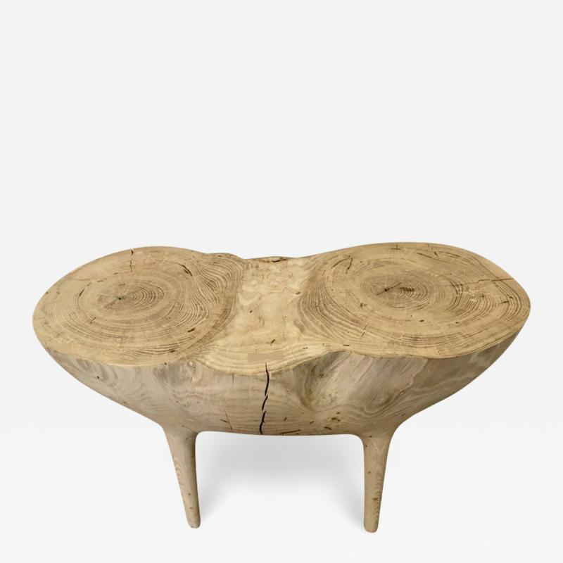 Caleb Woodard Bleached Ash Contemporary Hand Carved Side Table