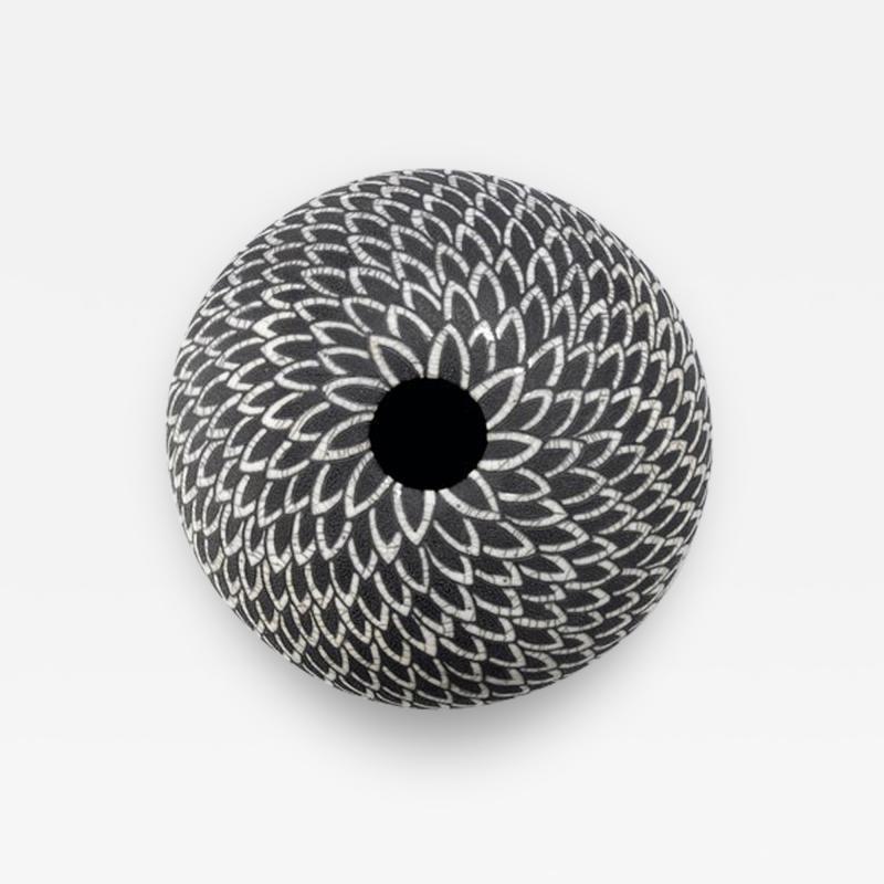 Camille Champignion Contemporary Black and White Ceramic Globe Vase Boule Plumes II