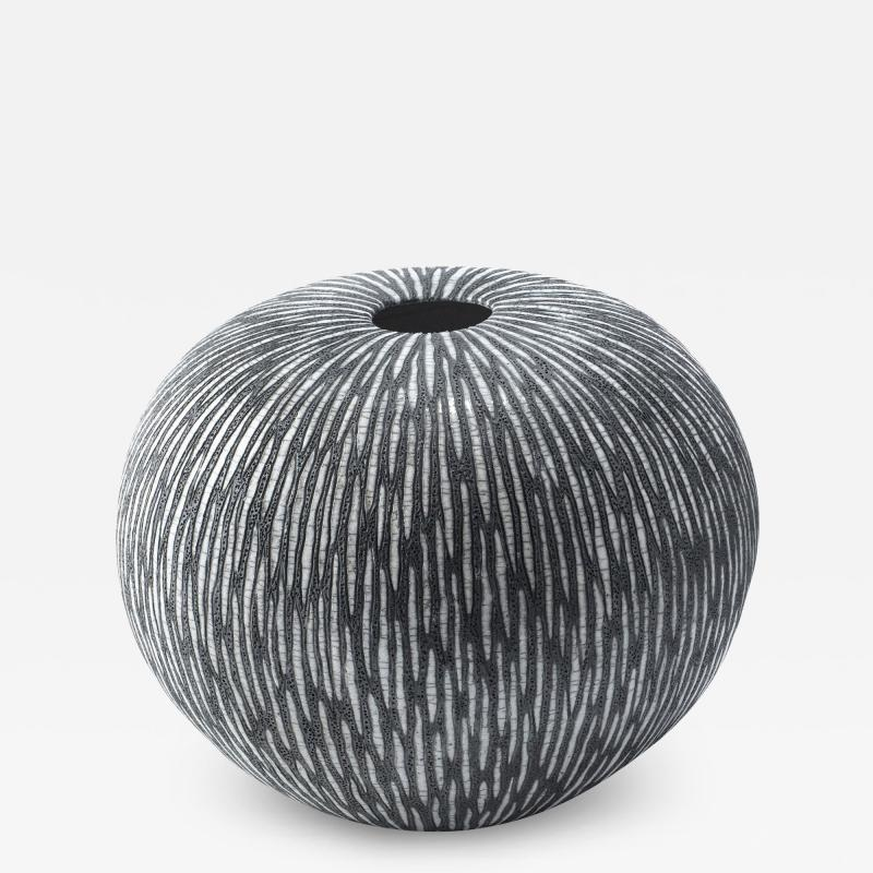 Camille Champignion Contemporary Black and White Ceramic Globe Vase Boule Strate Large