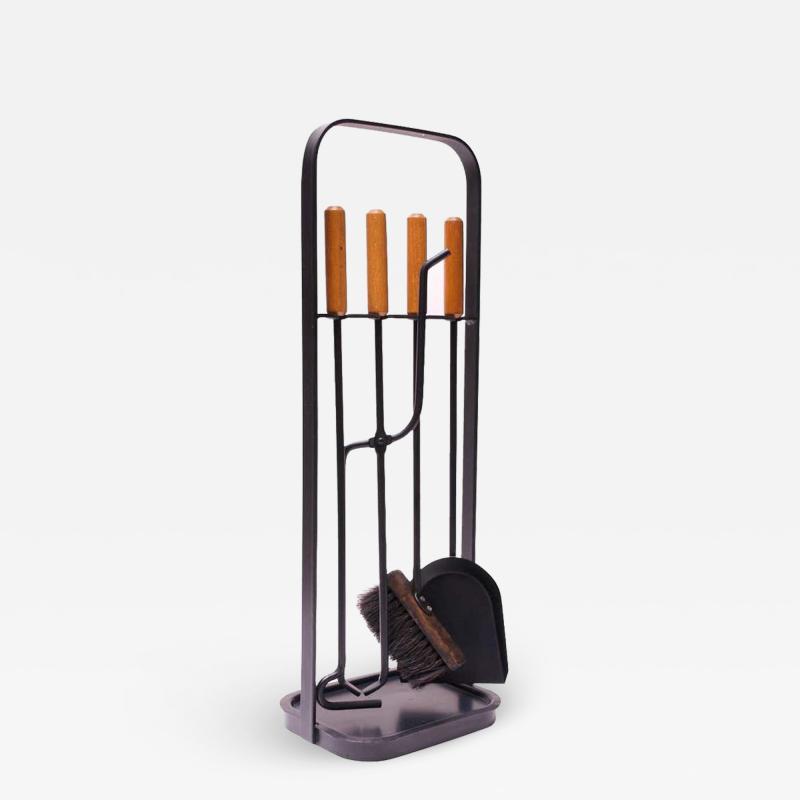 Carl Aub ck Austrian Modernist Fire Tool Set in Maple and Iron