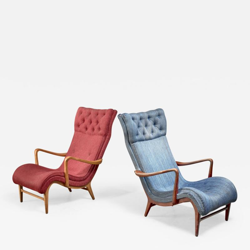 Carl Cederholm Carl Cederholm pair of easy chairs Sweden 1940s