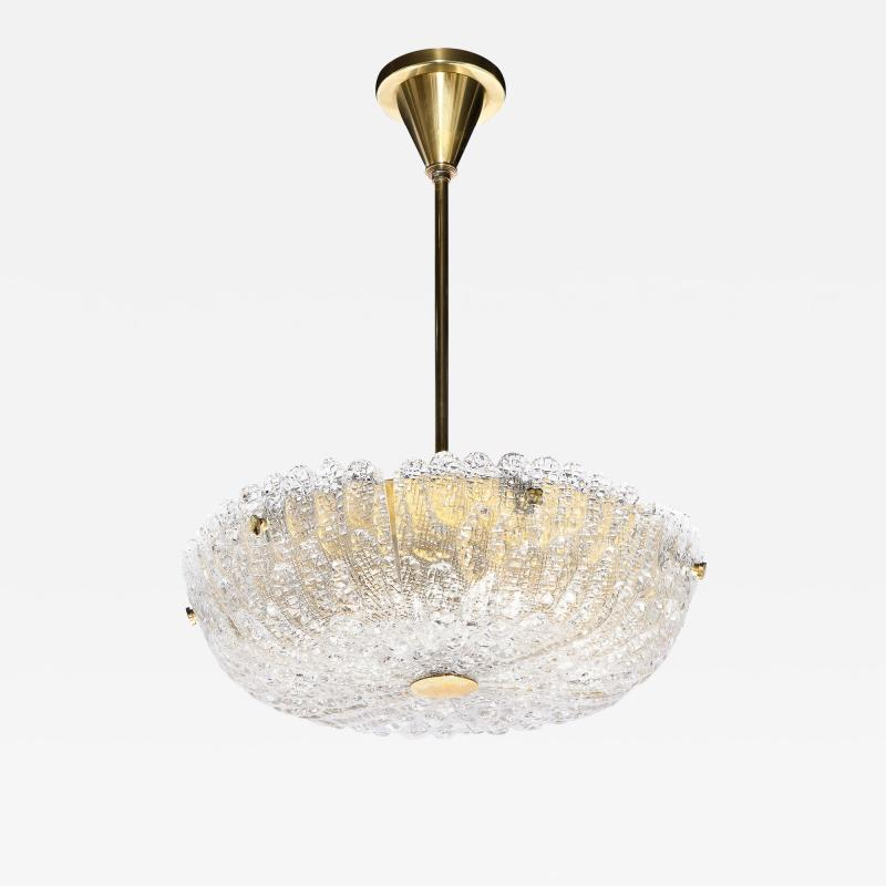 Carl Fagerlund Mid Century Murano Glass Brass Chandelier by Carl Fagerlund for Orrefors