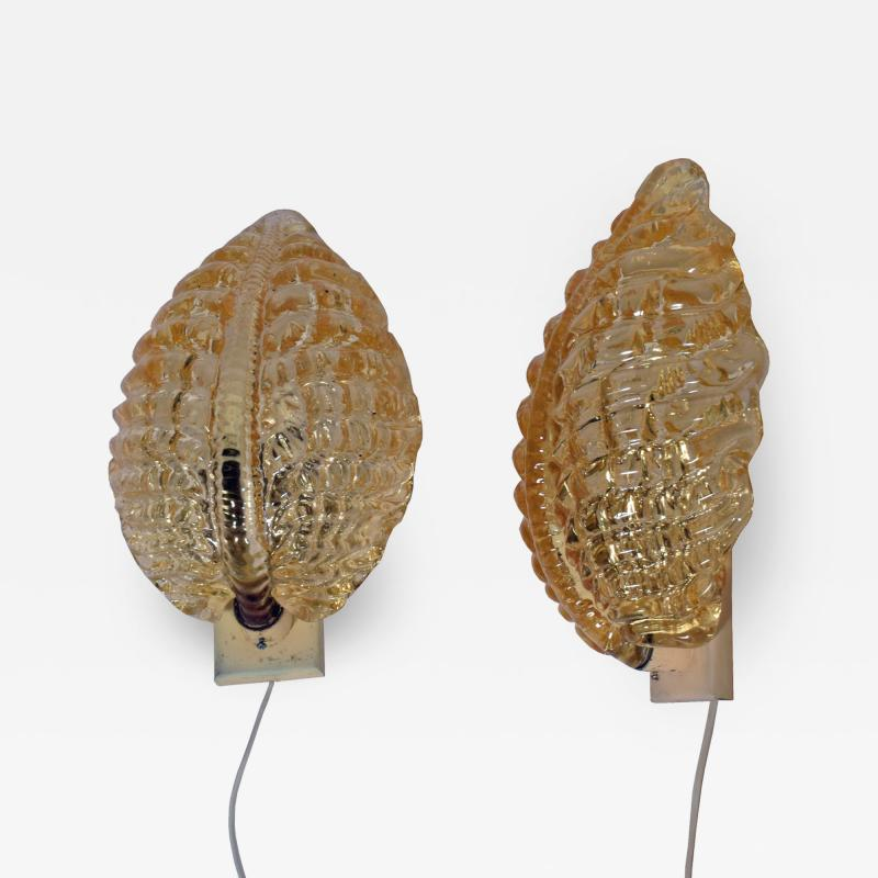 Carl Fagerlund Pair Wall sconces by Orrefors 1930s Carl Fagerlund