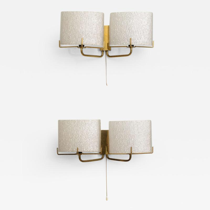 Carl Fagerlund Pair of Swedish Modern Two Light Wall Sconces Carl Fagerlund for Orrefors