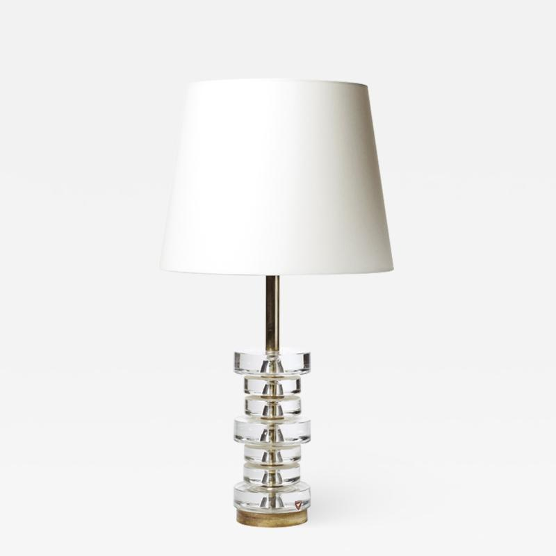 Carl Fagerlund Table lamp with stacked crystal disks by Carl Fagerlund