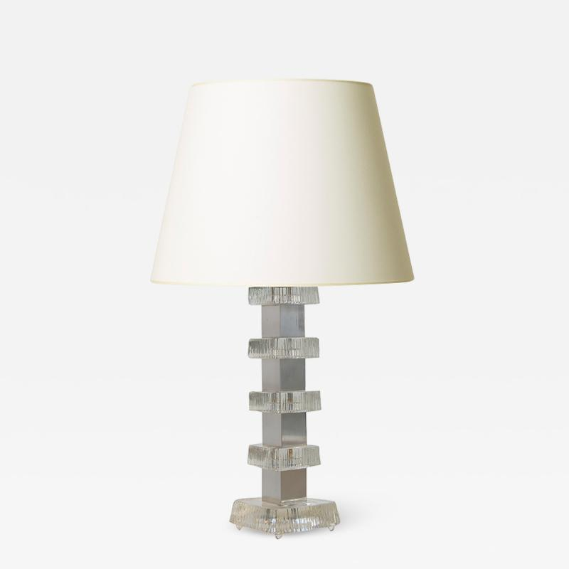 Carl Fagerlund Table lamp with steel and glass assemblage by Carl Fagerlund