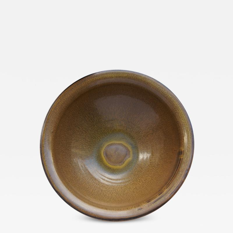 Carl Halier Exceptional Large Bowl with Harefur Glaze by Carl Halier