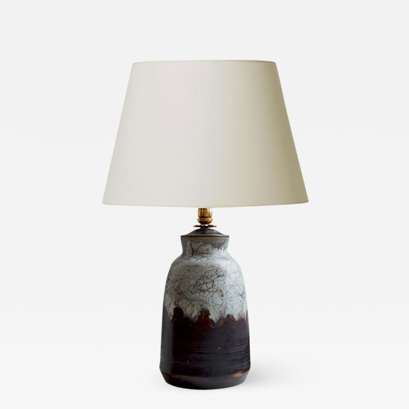 Carl Halier Extraordinary Table Lamp in Contrasting Glazes by Carl Halier