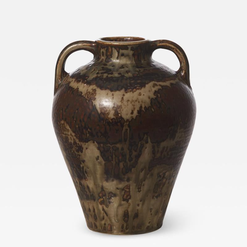 Carl Halier Large amphora form vase with Sung glaze by Carl Halier