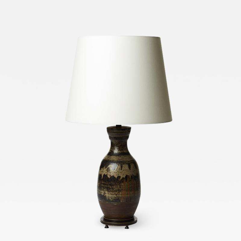 Carl Halier Superlative table lamp in Sung glaze by Carl Halier