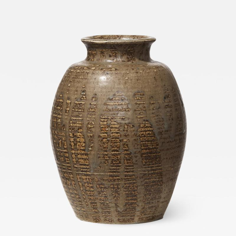 Carl Halier Vase with ridged texture and layered glazes by Carl Halier