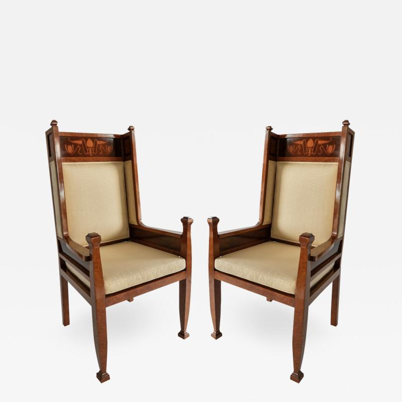 Carl Malmsten A Pair Swedish Art Deco Inlaid High Back Armchairs