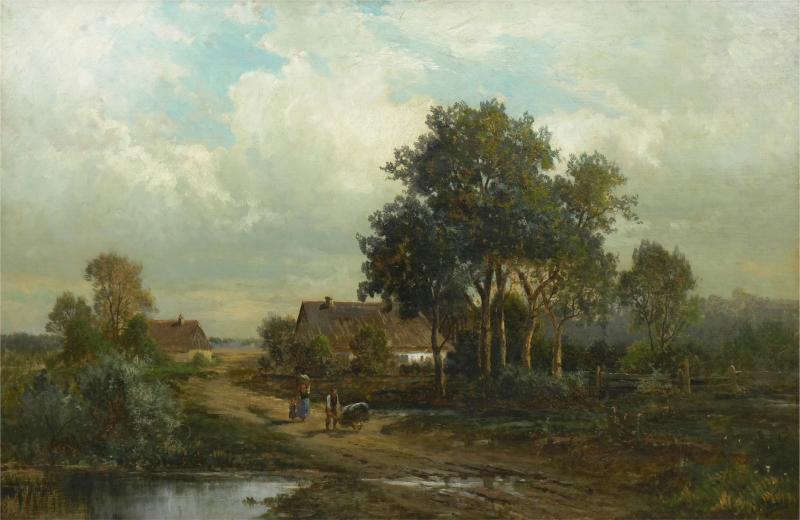 Carl Weber Bamberg Bavaria 1880 Pastoral Landscape Painting by Carl Weber