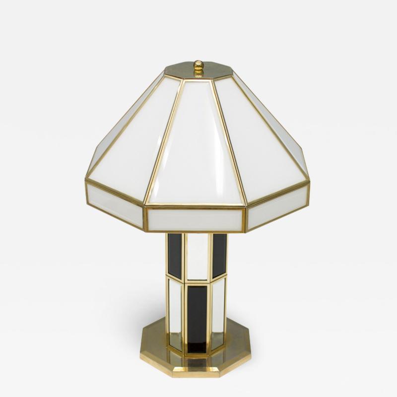 Carl Zalloni Rare Glass Mirror and Brass Table Lamp by Carl Zalloni for Cazal 1969