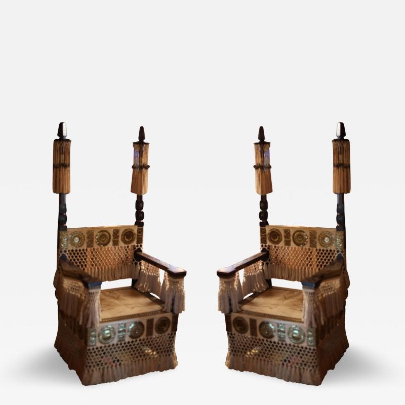 Carlo Bugatti Pair of Carlo Bugatti Throne Arm Chairs