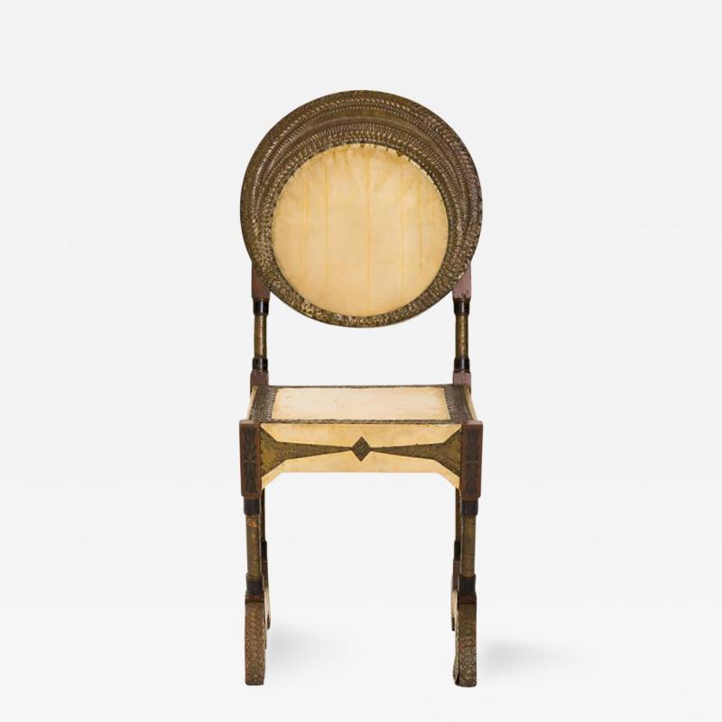 Carlo Bugatti Rare and Unusual Form Chair by Carlo Bugatti